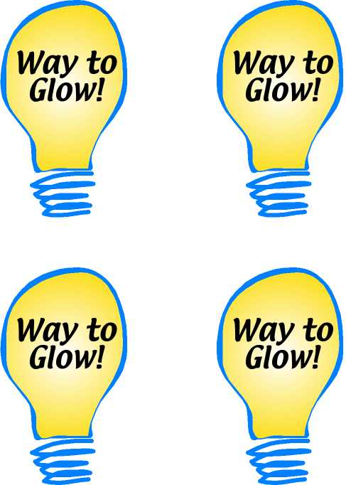 Way To Glow Free Printable Light Bulb Reward graphic  Teachnetcom